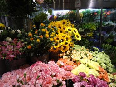 たくさんのお花が置いてあります。